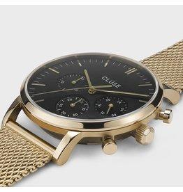 Cluse Cluse CW0101502010 heren horloge 40 mm Chronograaf  goldplated met idem mesh band zwarte wijzerplaat met gouden accenten