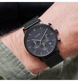 Cluse Cluse CW0101502007 40 mm heren horloge zwart plated kast en idem mesh band met zwarte wijzerplaat