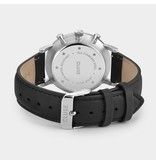 Cluse Cluse CW0101502001  40 mm heren Chronograaf horloge met stalen kast, zwarte wijzerplaat en zwart leren band.