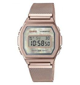 Casio Casio A1000MCG-9EF Horloge Digitaal Vintage Staal Rosé Mesh MOP