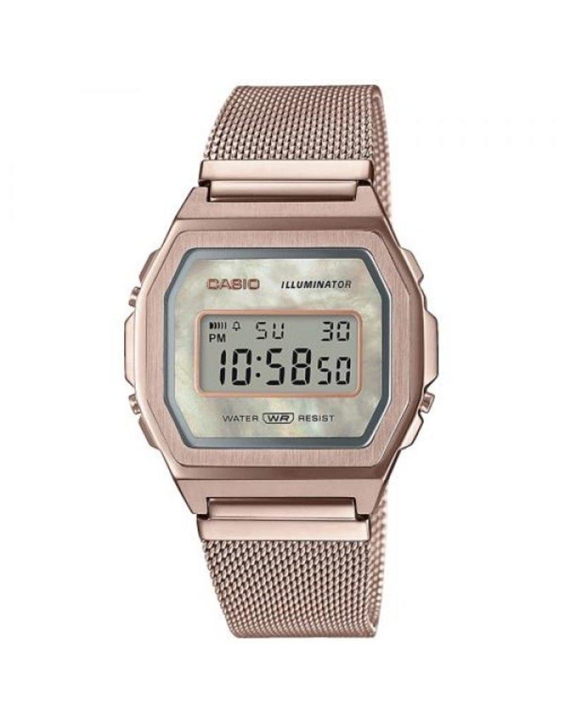 Casio A1000MCG-9EF Horloge Digitaal Vintage Staal Rosé Mesh MOP