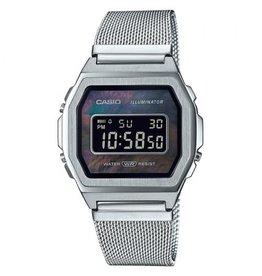 Casio Casio A1000M-1BEF Horloge Digitaal Vintage Staal Mesh MOP