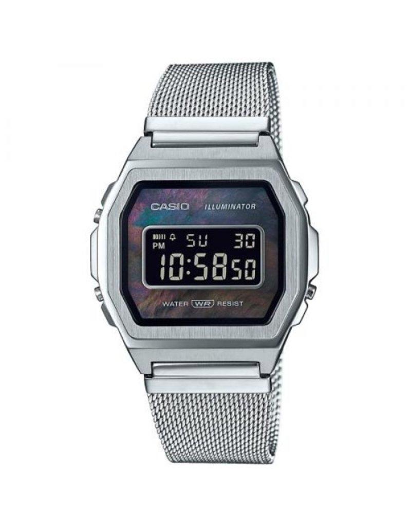 Casio A1000M-1BEF Horloge Digitaal Vintage Staal Mesh MOP