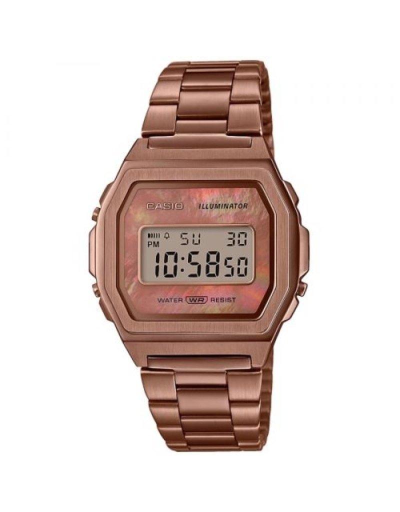 Casio Casio A1000RG-5EF Horloge Digitaal Vintage Staal Rosé MOP