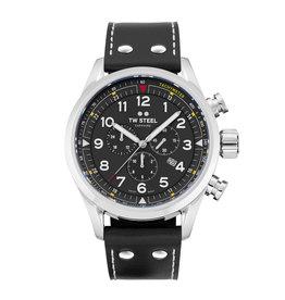TW Steel TW Steel SVS202 Horloge 48mm Volante   Swiss Movement, zwarte wijzerplaat, Chrono, zwart Kalfs lederen band, sapphire glas.