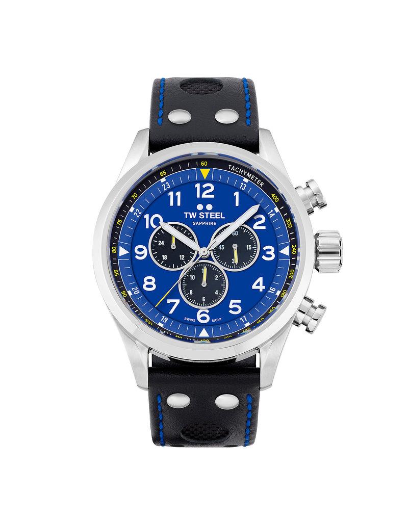 TW Steel TW Steel SVS305 Horloge, FIA Special edition Petter Solberg, 48mm Volante Swiss Movement, Chrono, zwart met blauw sticksel Kalfs lederen band, sapphire glas.