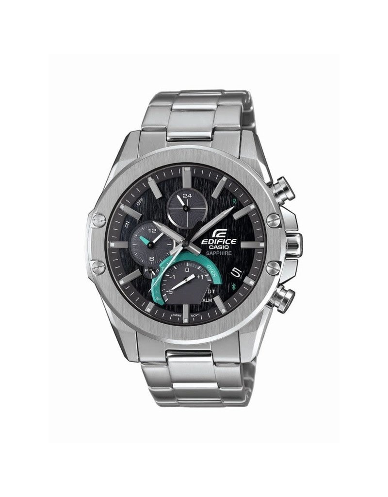 Edifice Edifice EQB-1000D-1AER Horloge heren Bluetooth Solar Chrono Sapphire Staal Zwart/Blauw