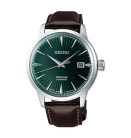 Seiko_Exclusive Seiko SRPD371 Horloge Presage Automatic Groen Bruin Leer