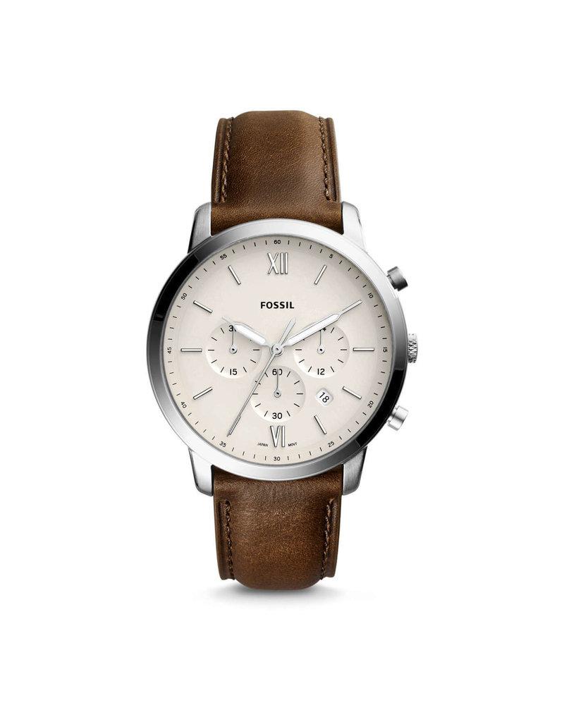 Fossil Fossil FS5380 Horloge Heren Chrono Bruin Leer