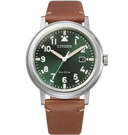 Citizen Citizen AW1620-13X Horloge heren ecodrive Leer Groen