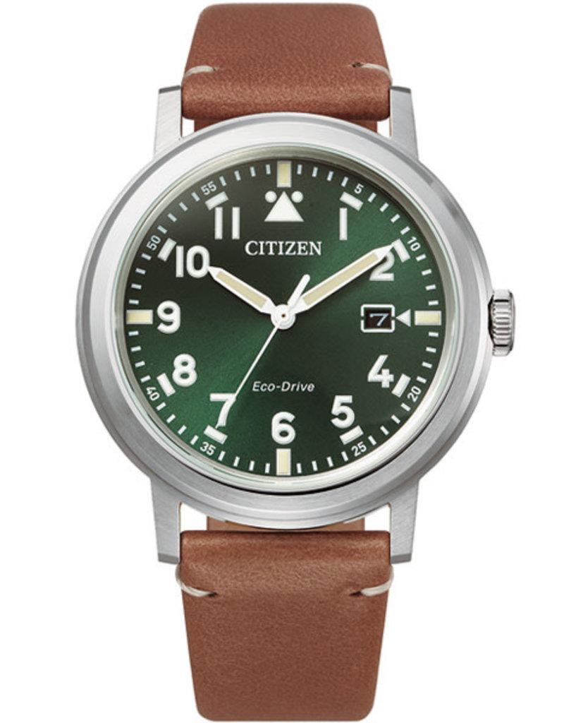 Citizen AW1620-13X Horloge heren ecodrive Leer Groen