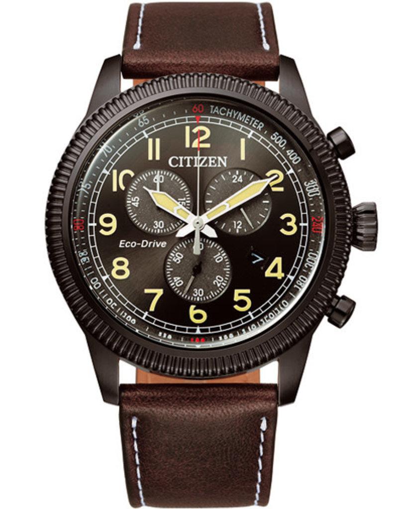 Citizen AT2465-18E Horloge Heren Chrono Ecodrive Leer bruin