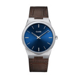 Cluse Cluse CW0101503001 Horloge heren Vigoureux 40 Leather Dark Blue/Brown
