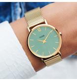Cluse Cluse CW0101203030 Horloge Dames Minuit Mesh Gold stone Green