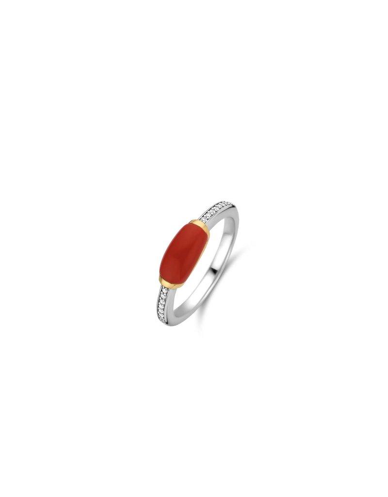 Ti Sento Milano Ti Sento-Milano 12191CR/52 Ring Zilver met zirkonia en rode steen Maat 52