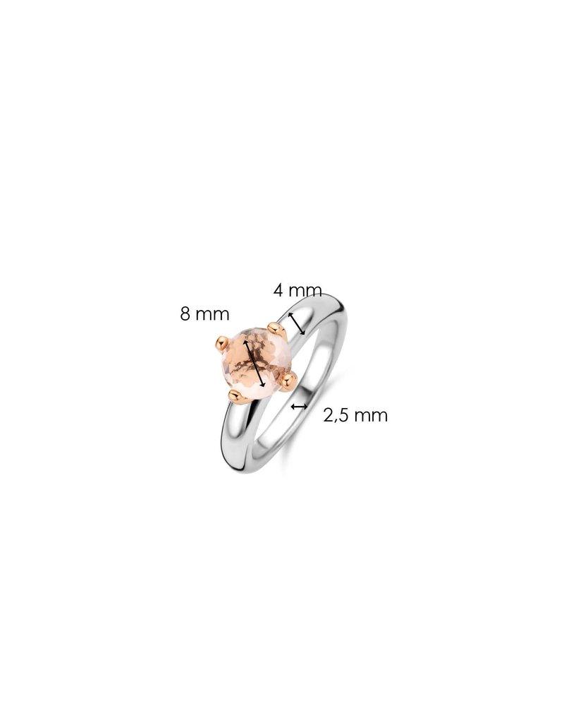 Ti Sento Milano Ti Sento-Milano 12179NU/54 Ring Zilver Rosé verguld met roze Steen Maat 54