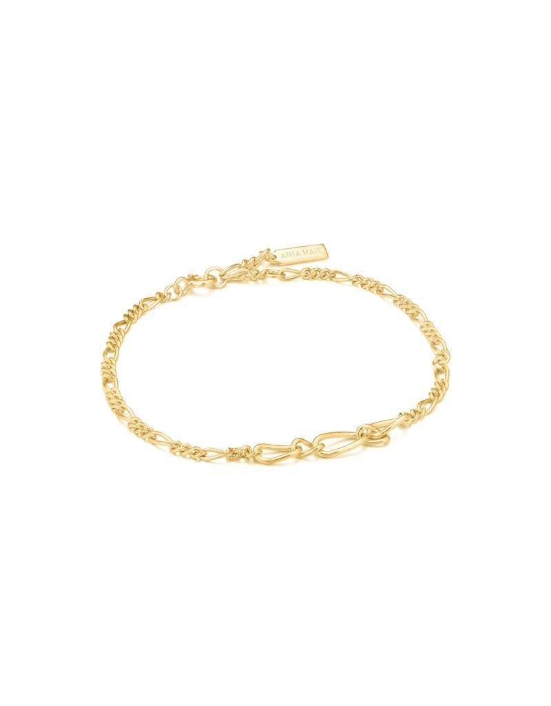 ANIA HAIE JEWELRY Ania Haie AH B021-03G Armband Zilver verguld Figaro Chain
