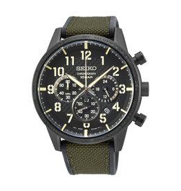 Seiko Seiko SSB369P1 Horloge Heren Chrono Black Carbon Groen Silicon/Nylon