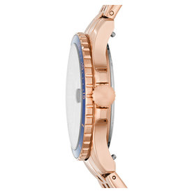 Fossil Fossil ES4767 Horloge Staal Rosé plated blauw