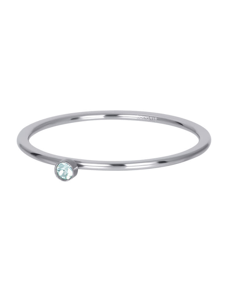 iXXXi iXXXi R03906-03 18 Ring zilver Green 1 stone crystal maat 18