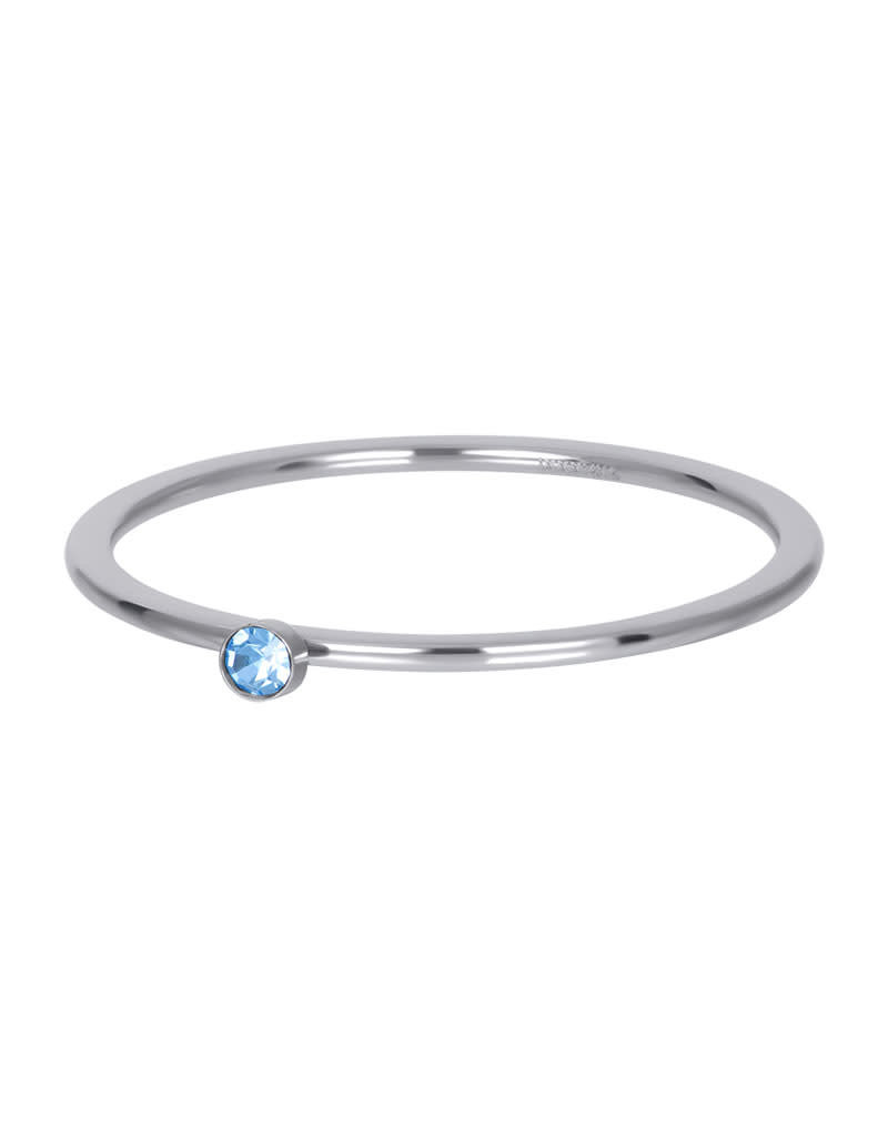 iXXXi iXXXi R03909-03 18 Ring zilver light saphire 1 stone crystal maat 18