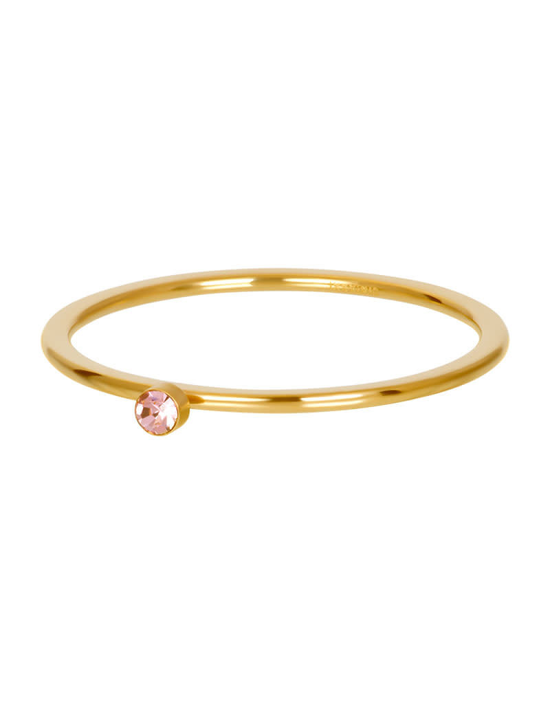 iXXXi iXXXi R03908-01 21 Ring goud pink 1 stone crystal maat 21