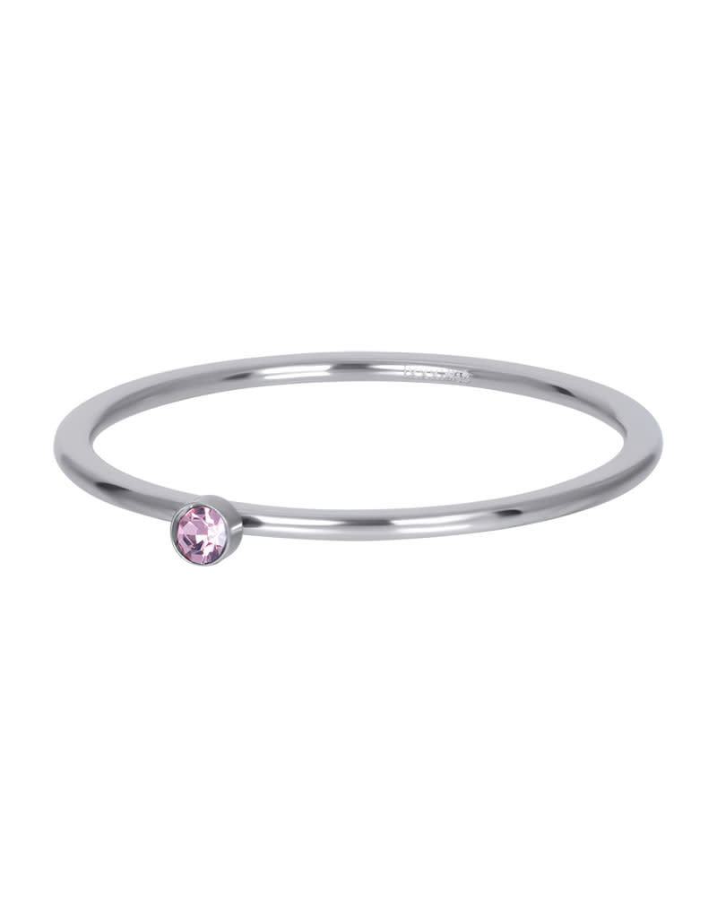 iXXXi iXXXi R03908-03 19 Ring zilver pink 1 stone crystal maat 19