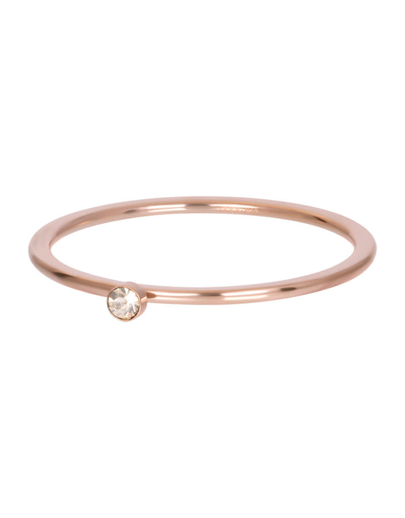 iXXXi iXXXi R03907-02 18 Ring rosé Blond flare 1 stone crystal maat 18