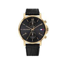 Tommy Hilfiger TH1710417 Horloge Daniel Heren Staal gold Leer zwart