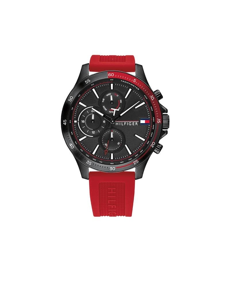 Tommy Hilfiger Tommy Hilfiger TH1791722 Horloge Bank Heren Staal zwart rubber Rood