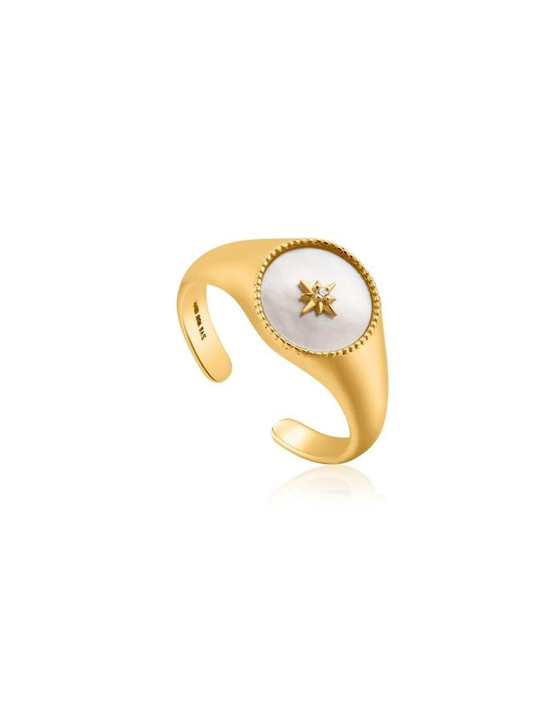 ANIA HAIE JEWELRY Ania Haie R022-01G Ring MOP Signet Zilver gold plated