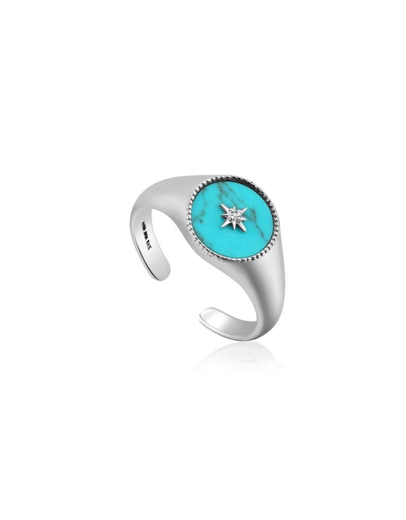 ANIA HAIE JEWELRY R022-01H Ring Turquoise Signet Zilver