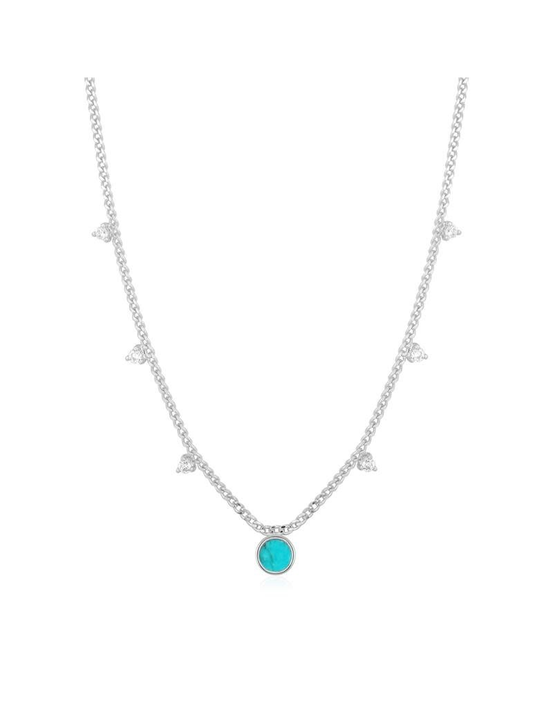 ANIA HAIE JEWELRY  N022-03H Ketting Turquoise drop disc zilver