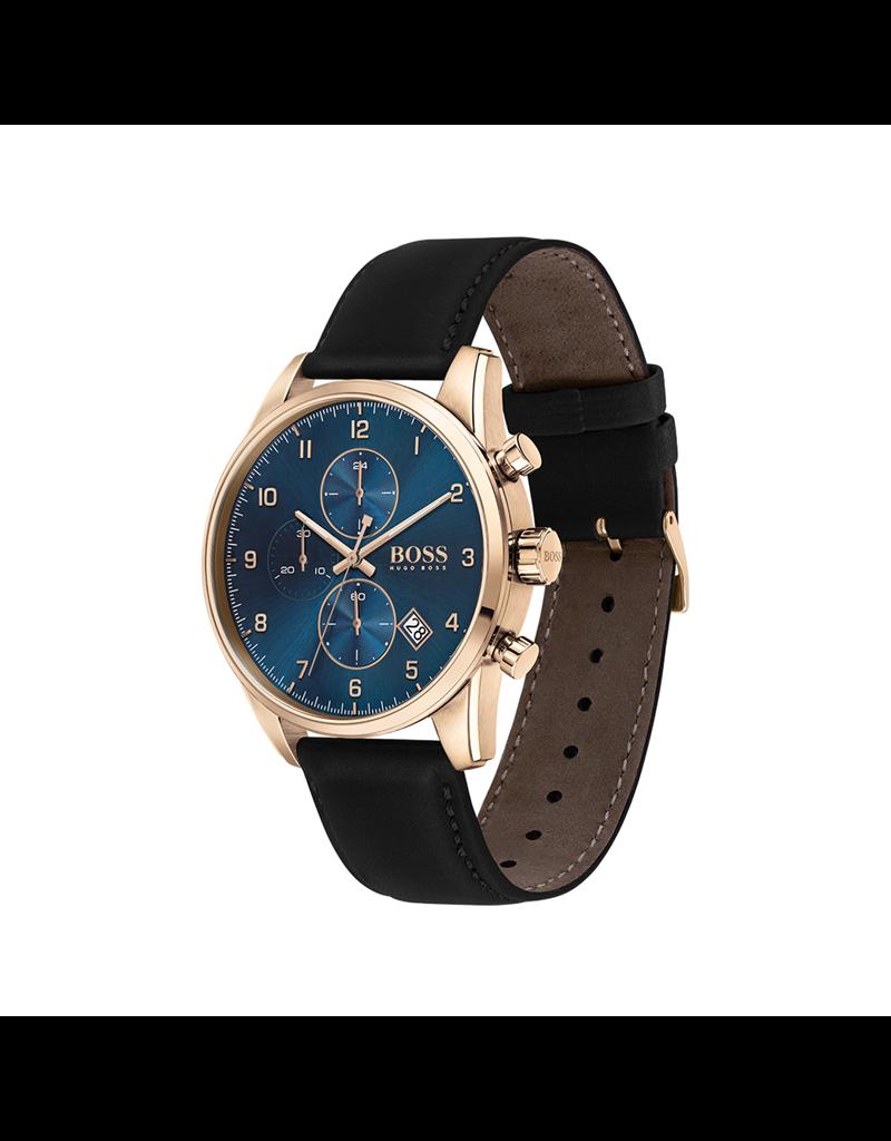 Hugo Boss Hugo Boss HB1513783 Horloge heren Skymaster Staal leer zwart