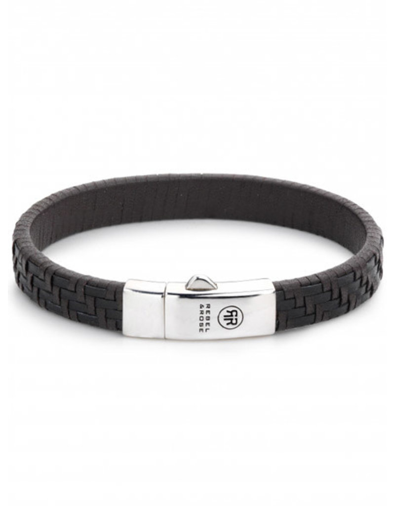 Rebel&Rose  RR-L0049-S-M Armband Leer Woven Staiway Black Earth