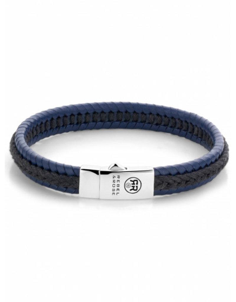Rebel&Rose RR-L0066-S-M Armband Leer Dual Twisted Black/Blue
