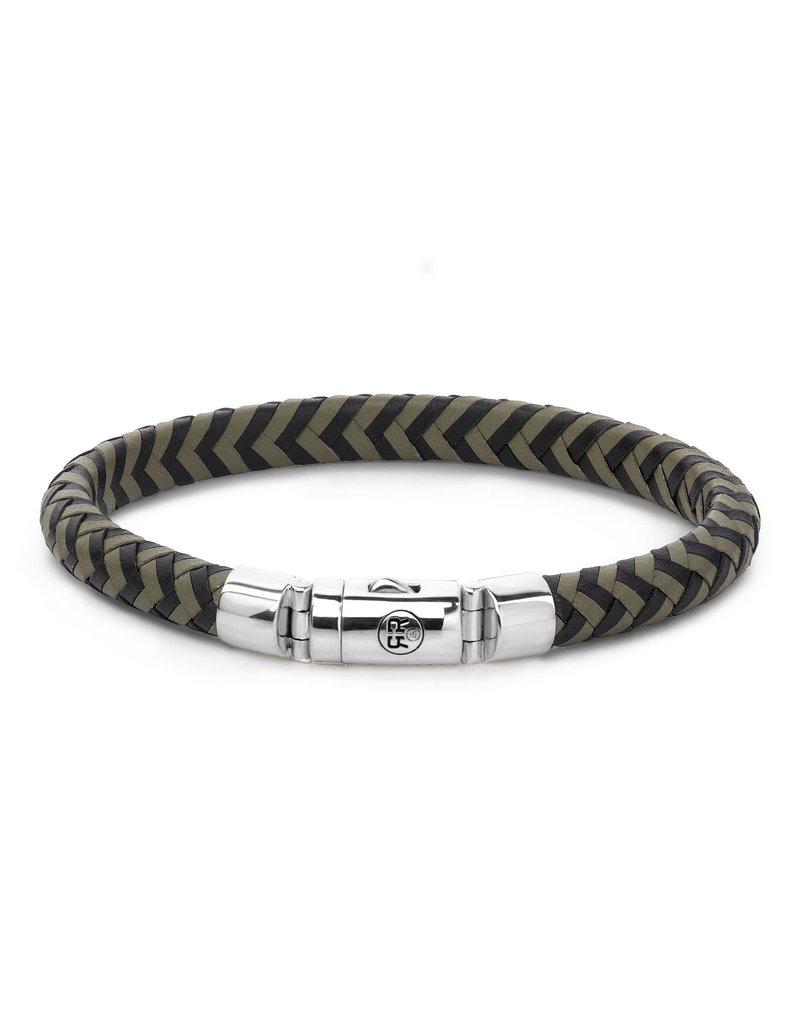 Rebel&Rose RR-L0062-S-M Armband Leer Half Round Braided Black/Olive