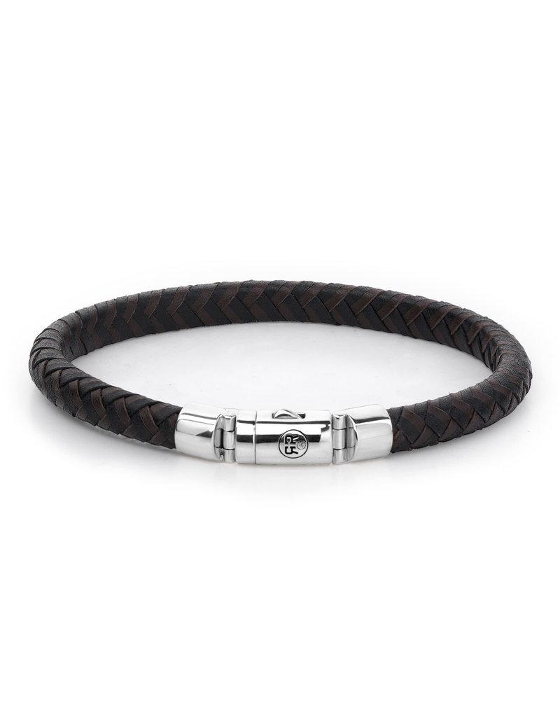 Rebel&Rose RR-L0061-S-L Armband Leer Half Round Braided Black/Earth