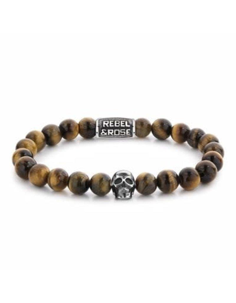 Rebel&Rose RR-SK005-S-L Armband Skull Mixed Tiger Eye - 8MM