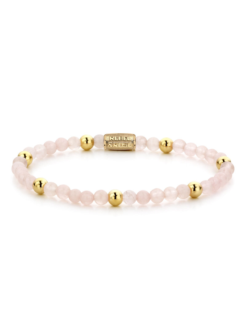 Rebel&Rose RR-40048-G-S Armband Pink Rose II Yellow Gold plated - 4MM