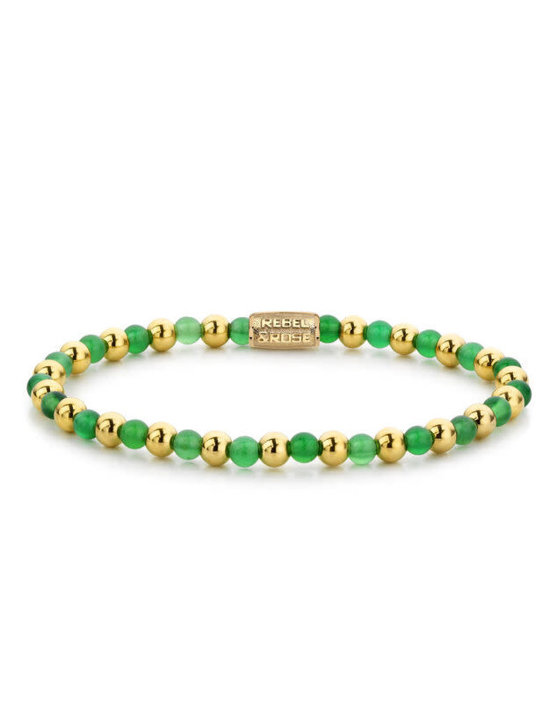 Rebel&Rose RR-40049-G-S Armband Mix Green Harmony Yellow Gold plated - 4MM