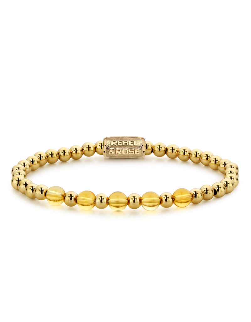 Rebel&Rose RR-60061-G-S Armband Yellow Gold meets Cheerfull Citrine Yellow Gold plated - 6MM