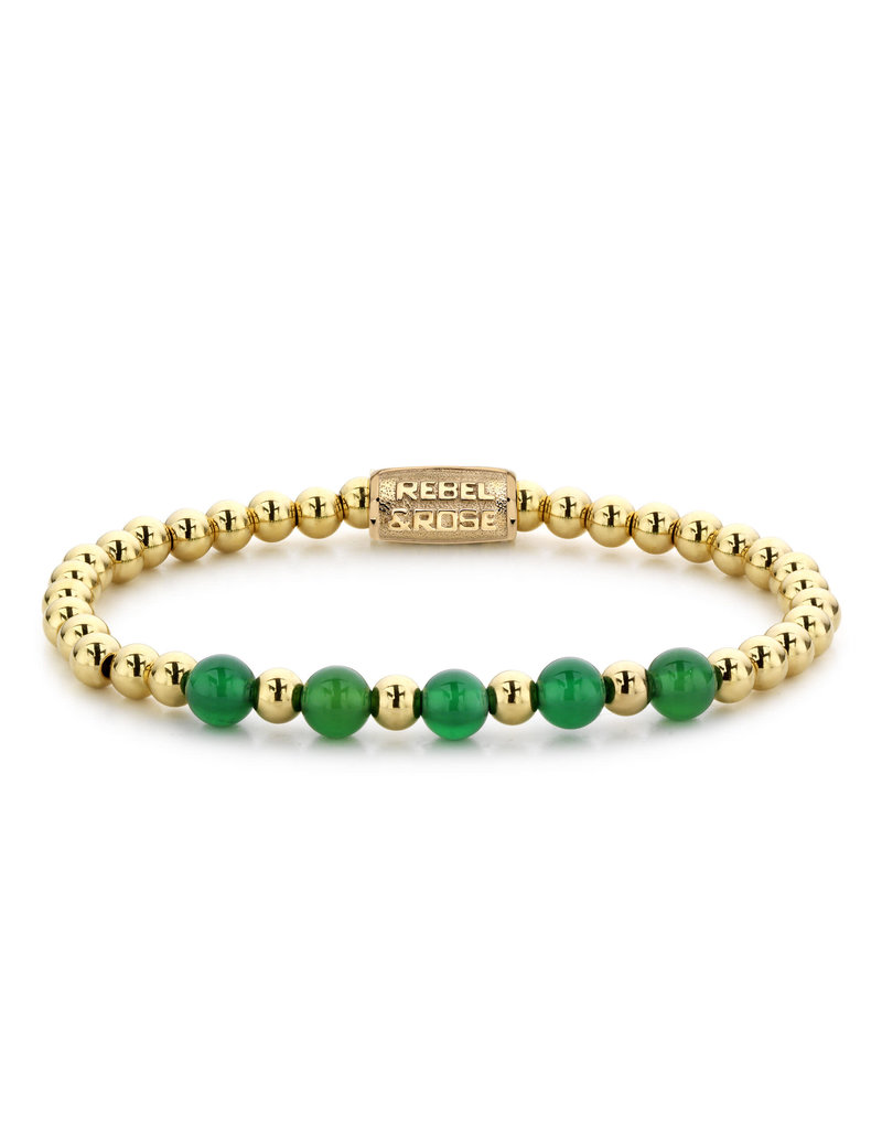 Rebel&Rose RR-60062-G-S Armband Yellow Gold meets Green Harmony Yellow Gold plated - 6MM