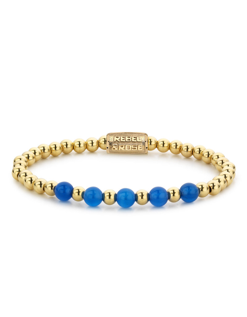 Rebel&Rose RR-60066-G-S Armband Yellow Gold meets Brightening Blue - 6MM