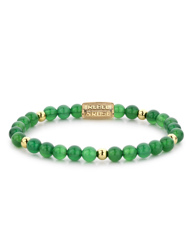 Rebel&Rose RR-60067-G-S Armband Green Harmony Yellow Gold Plated - 6MM