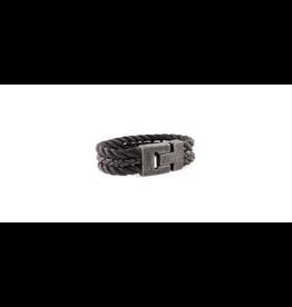 Josh Josh 24899-BRA Armband driedubbel touw/leer zwart 21CM