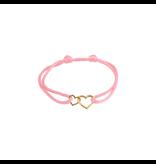 Huiscollectie - Goud Armband Satijn Roze met 14 Krt goud symbool
