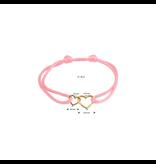 Blinckers Jewelry Huiscollectie Armband Satijn Roze met 14 Krt goud symbool