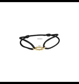 Huiscollectie - Goud 47.00083 Armband Satijn zwart met 14 Krt goud  symbool
