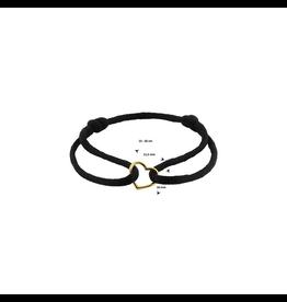 Huiscollectie - Goud 47.00088 Armband Satijn zwart met 14 Krt goud symbool
